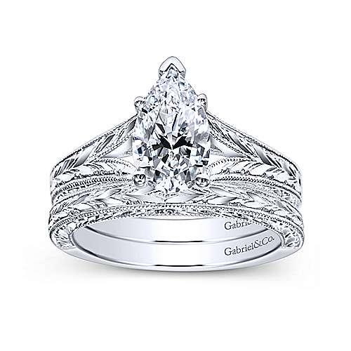 14k White Gold Pear Shape Split Shank Engagement Ring angle 4