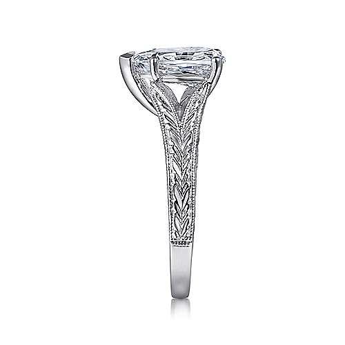 14k White Gold Pear Shape Split Shank Engagement Ring angle 5