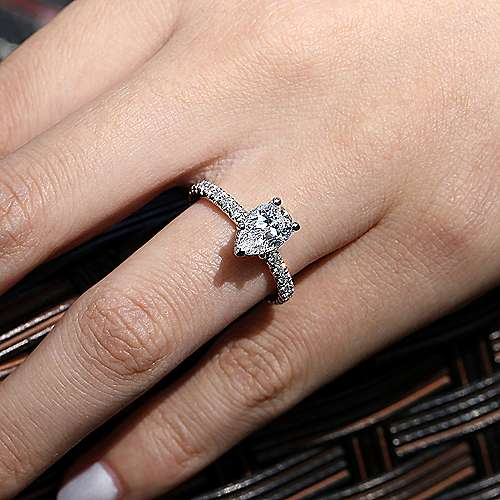 14k White Gold Pear Shape Straight Engagement Ring angle 6