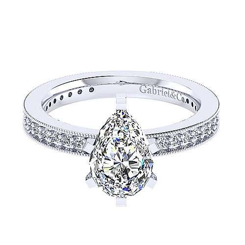Gabriel - 14k White Gold Pear Shape Straight Engagement Ring