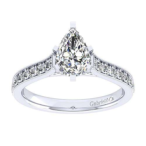 14k White Gold Pear Shape Straight Engagement Ring angle 5