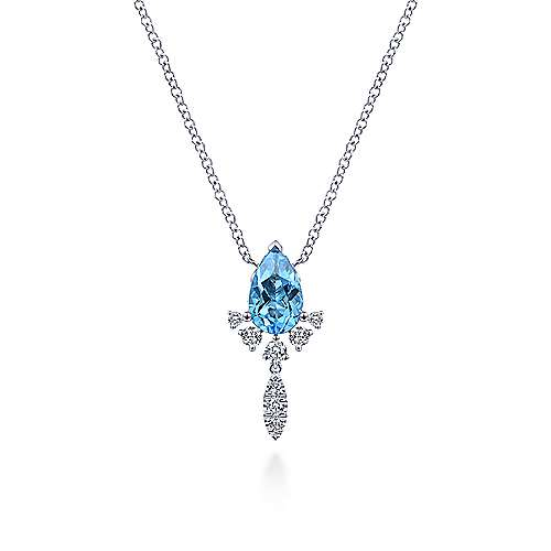 14k White Gold Pear Shape Swiss Blue Topaz & Diamond Fashion Necklace