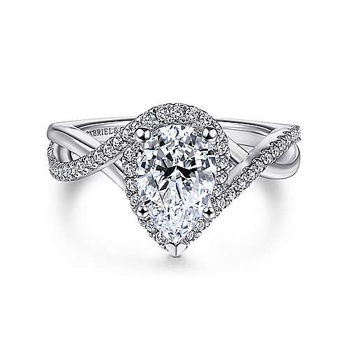 Gabriel - 14k White Gold Pear Shape Twisted Engagement Ring