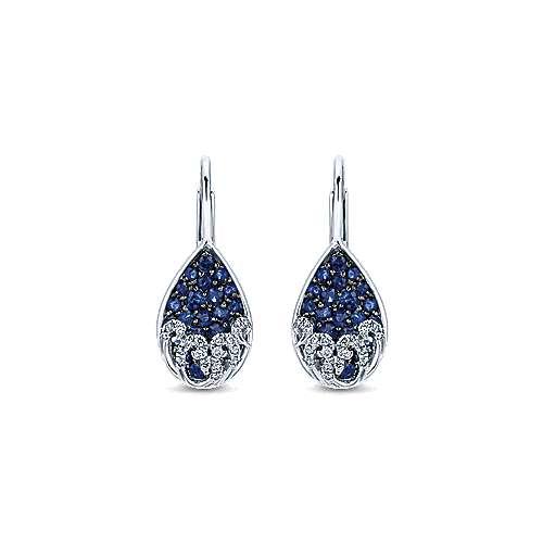 Gabriel - 14k White Gold Pear Shaped Diamond & Sapphire Cluster Drop Earrings
