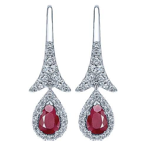 Gabriel - 14k White Gold Pear Shaped Ruby and Diamond Drop Earrings