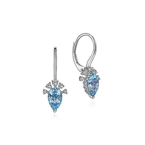 14k White Gold Pear Shaped Swiss Blue Topaz Drop Earrings