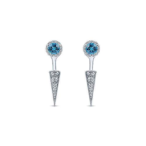 14k White Gold Peek A Boo Swiss Blue Topz & Diamond Spike Earrings