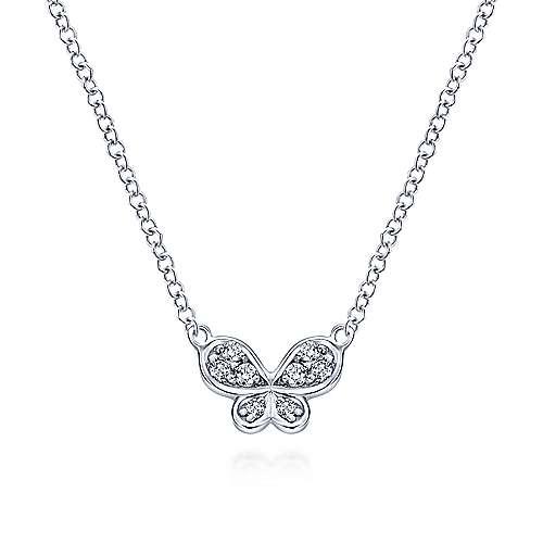 14k White Gold Petite Diamond Butterfly Necklace