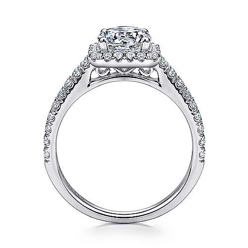 14k White Gold Petite Diamond Halo Engagement Ring and French Pave Shank angle 2