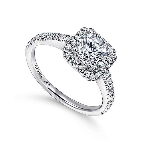 14k White Gold Petite Diamond Halo Engagement Ring and French Pave Shank angle 3