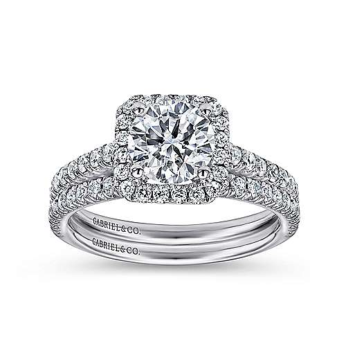 14k White Gold Petite Diamond Halo Engagement Ring and French Pave Shank angle 4