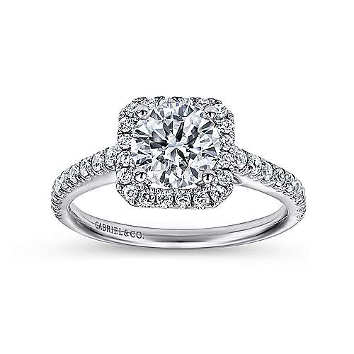 14k White Gold Petite Diamond Halo Engagement Ring and French Pave Shank angle 5