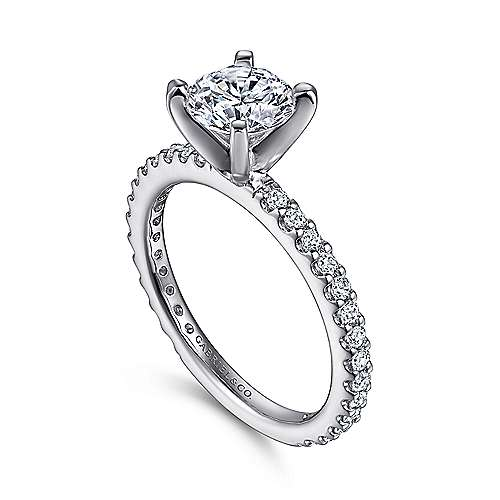 14k White Gold Petite Pave Diamond  Engagement Ring with Straight Band angle 3