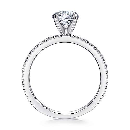 14k White Gold Petite Pave Diamond  Engagement Ring with Straight Band angle 2