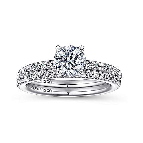 14k White Gold Petite Pave Diamond  Engagement Ring with Straight Band angle 4