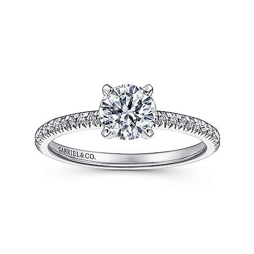 14k White Gold Petite Pave Diamond  Engagement Ring with Straight Band angle 5