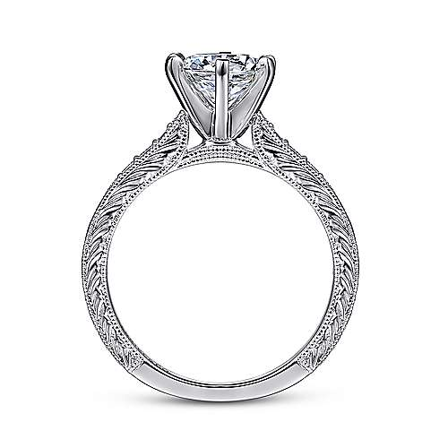 14k White Gold Petite Side Diamonds Straight Engagement Ring angle 2