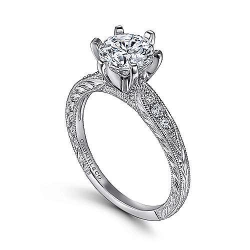 14k White Gold Petite Side Diamonds Straight Engagement Ring angle 3