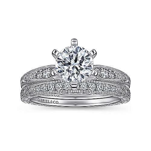 14k White Gold Petite Side Diamonds Straight Engagement Ring angle 4