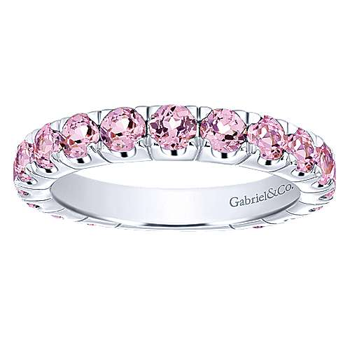 14k White Gold Pink Created Zircon Stackable Ladies