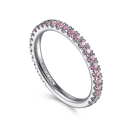 14k White Gold Pink Sapphire Stackable Ladies