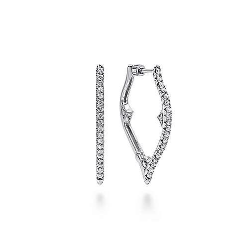 14k White Gold Pointed Intricate Diamond Hoop Earrings