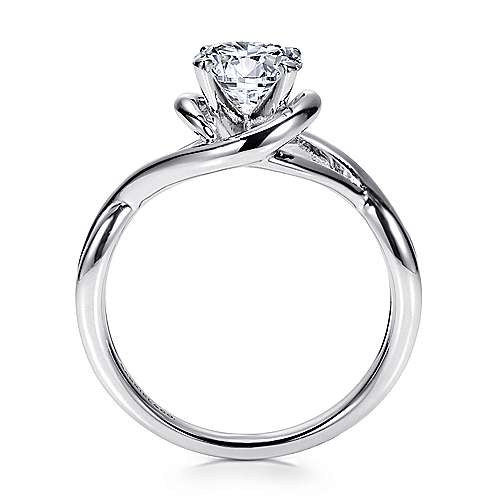 14k White Gold Polished Criss Cross Engagement Ring with Four Prong Setting angle 2