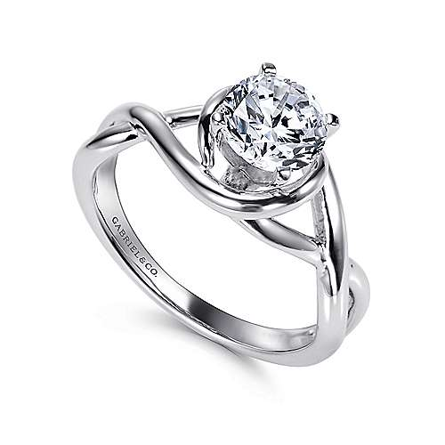 14k White Gold Polished Criss Cross Engagement Ring with Four Prong Setting angle 3