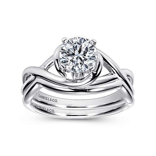 14k White Gold Polished Criss Cross Engagement Ring with Four Prong Setting angle 4