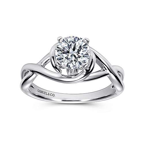 14k White Gold Polished Criss Cross Engagement Ring with Four Prong Setting angle 5