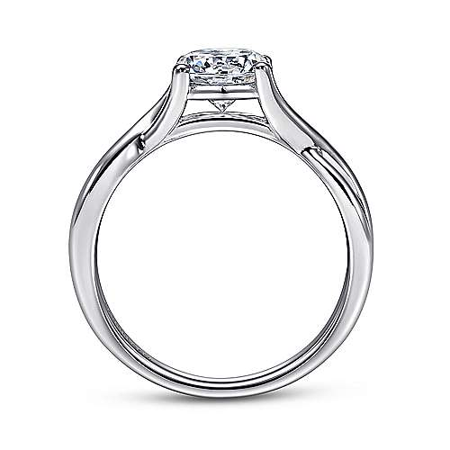 14k White Gold Polished Criss Cross Engagement Ring angle 2