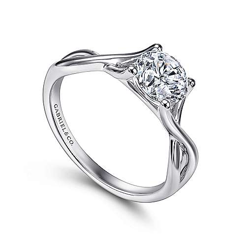 14k White Gold Polished Criss Cross Engagement Ring angle 3