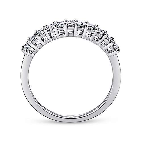 14k White Gold Princess Cut 11 Stone Diamond Anniversary Band angle 2