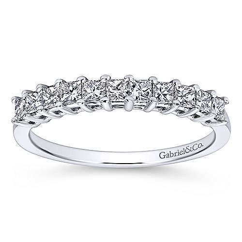 14k White Gold Princess Cut 11 Stone Diamond Anniversary Band
