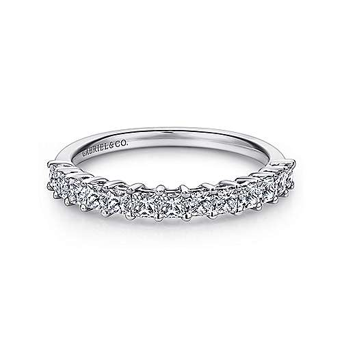 Gabriel - 14k White Gold Princess Cut 13 Stone Prong Set Band