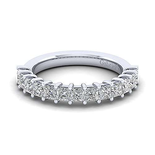 14k White Gold Princess Cut 13 Stone Shared Prong Set Anniversary Band