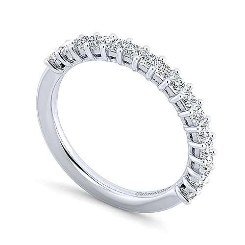 14k White Gold Princess Cut 16 Stone Diamond Anniversary Band angle 3