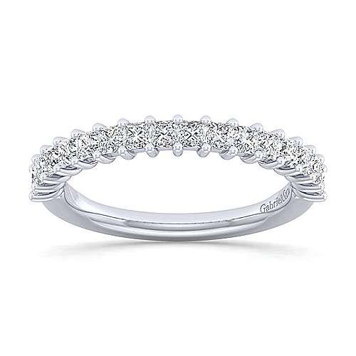 14k White Gold Princess Cut 16 Stone Diamond Anniversary Band angle 5