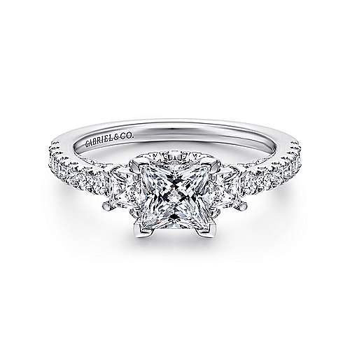 Gabriel - 14k White Gold Princess Cut 3 Stones Engagement Ring