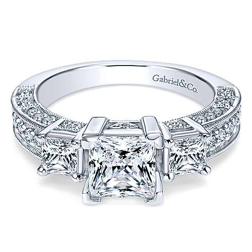 14k white gold princess cut 3 stones engagement ring angle 1 - White Gold Princess Cut Wedding Rings