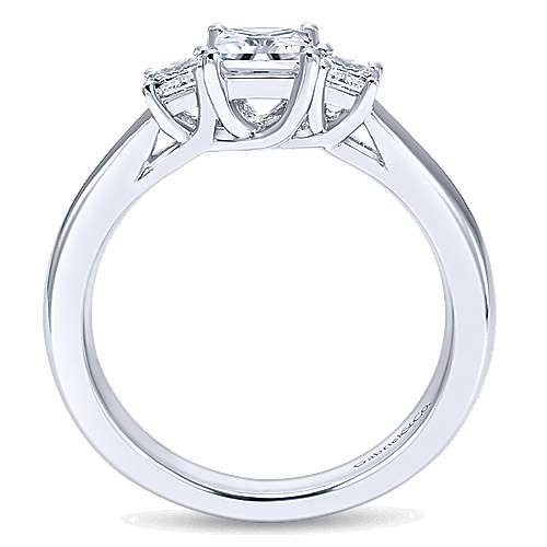 14k White Gold Princess Cut 3 Stones Engagement Ring angle 2