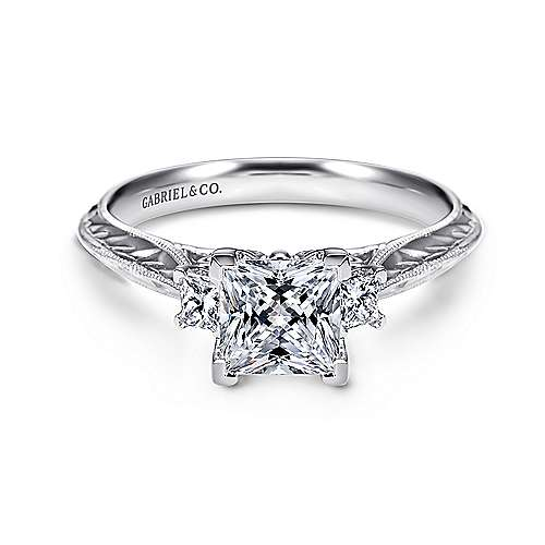 14k White Gold Princess Cut 3 Stones Engagement Ring angle 1