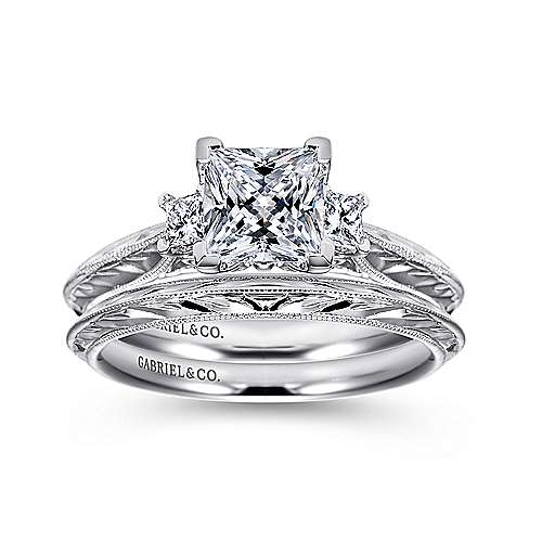 14k White Gold Princess Cut 3 Stones Engagement Ring angle 4