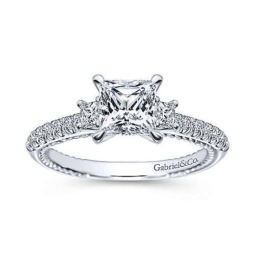 14k White Gold Princess Cut 3 Stones Engagement Ring angle 5