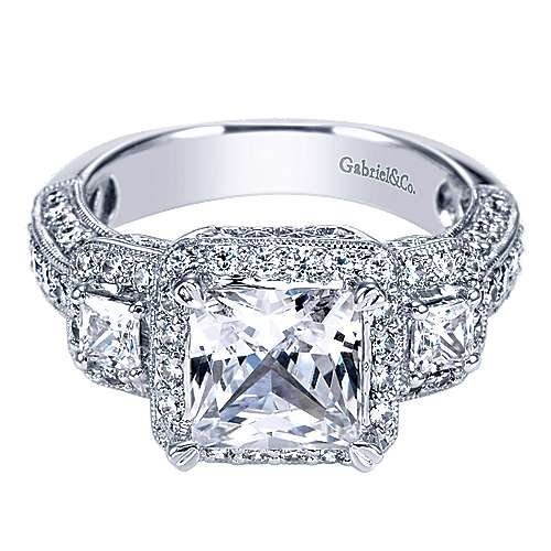 14k White Gold Princess Cut 3 Stones Halo Engagement Ring angle 1