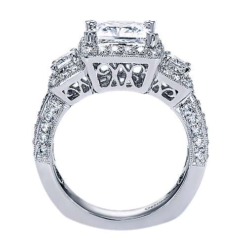 14k White Gold Princess Cut 3 Stones Halo Engagement Ring angle 2