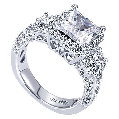 14k White Gold Princess Cut 3 Stones Halo Engagement Ring angle 3