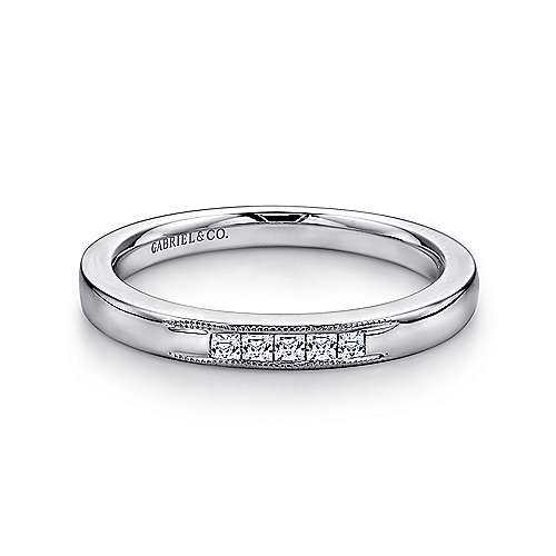 Gabriel - 14k White Gold Princess Cut 5 Stone Channel Set Band