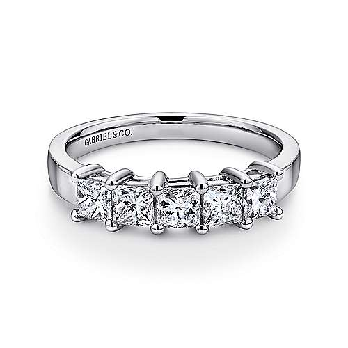 14k White Gold Princess Cut 5 Stone Diamond Anniversary Band angle 1