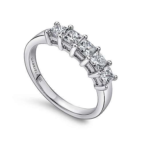 14k White Gold Princess Cut 5 Stone Diamond Anniversary Band angle 3